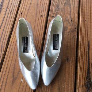 Vintage Stuart Weitzman Silver Flared Heel -6.5